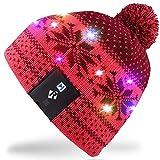 Rotibox LED String Leuchten Beanie Hut Strickmütze mit Kupferdraht Bunte Lichter 18 LEDs für Männer Frauen Innen und Outdoor, Festival, Feiertag, Feiern, Feiern, Bar, Vermilion
