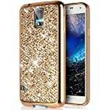 SainCat Funda Galaxy S4 Mini, Piel Anti-Golpes Samsung S4 Mini Transparente Funda Brillante Brillo Bling Purpurina Glitter para Samsung S4 Mini-Oro