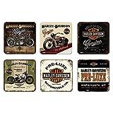 6 tlg Set Untersetzer - 9 x 9 cm - Harley-Davidson Set Nr. 1