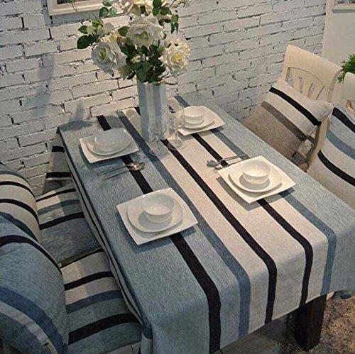 WFLJL Tischdecke Esstisch Mode Wohnzimmer Amerikanischer Stil Coffee Shop Couchtisch Rechteck Chenille Blau Und Weiß Streifen 130 * 180cm -