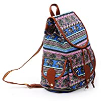 YISUMEI Canvas Waterproof Schoolbag Bookbags Backpack Travel Bag Aztec Tribal Pattern Elephant Flower