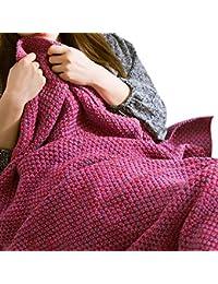 Hrph Moda de punto de cola de la sirena, manta de cama hecha a mano de ganchillo chal suave adulto Saco de dormir Mantas
