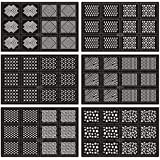Ejiubas Geometry & Complex Pattern Nail Stencil Vinyl Nail Sticker Easy Nail Art Set - Pack of 12 Sheets with 24 Designs