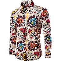 WULIFANG Impresión De Flores De Moda para Hombres Camiseta Clásica Versión Slim Retro Hombres Transpirable De Algodón Camisa De Manga Larga Caqui XXL