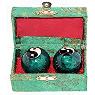 VERY100 Baoding Balls Chinese Health Exercise Stress Balls 40mm - Chrome Color Chi Balls with Box