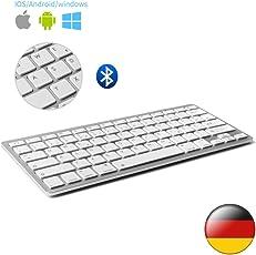 D DINGRICH Wireless Bluetooth Tastatur (QWERTZ), Ultra Dünn Wireless Bluetooth Tastatur für Allen IOS, iPad, Android, Mac und Windows Geräten