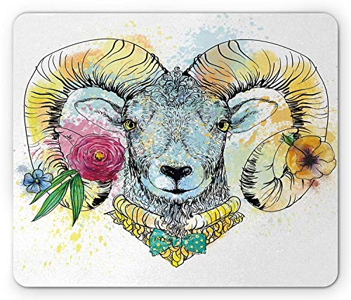 ASKSSD Quirky Mouse Pad, Ram Head with The Horns and Blossoming Spring Flowers Bow Tie Dapper Fashion Art, Standard Size Rectangle Non-Slip Rubber Mousepad, Multicolor