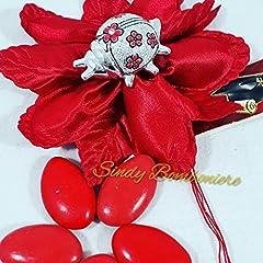 Idea Regalo - Sacchetto bomboniera Rosso per Laurea con Coccinella Argentata Fiori Rossi Porta Fortuna (Bomboniera Completa)