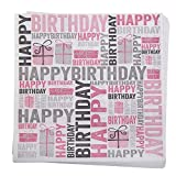 Geburtstags-Servietten 'Happy Birthday' in Pink & Silber-Grau - 33x 33cm - 3 lagig - Geburtstags-Deko / Geburtstags-Feier / Tisch-Deko Geburtstag (60 Stück)