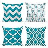 HuifengS New Living Series color motivo geometrico decorativo tiro federa cuscino per divano, divano o letto 45,7x 45,7cm 45cm x 45cm set di 4 Blue-4