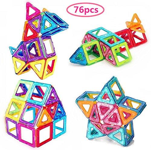 Morkka Magnetische Bausteine 76 Teile Magnete Bauklötze Konstruktion Blöcke Bausatz Pädagogisches Spielzeug Set Kreative Spielzeuge Kinder Kleinkind Mädchen Jungen Tolles Weihnachtsgeschenk