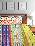 #8: Bombay Dyeing Golden Moment Vale Cotton Double Bedsheet With 2 Pillow Covers- Blue