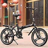 YEARLY Schüler klappräder, Kinderfahrrad Variable 6-gang Shimano Männlich und weiblich Mountain Geschenk Erwachsene klappräder Faltrad-Schwarz A 20inch