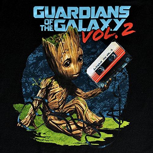 Guardians of the Galaxy Vol. 2 Herren T-Shirt Baby Groot Mixtape von Elbenwald Baumwolle Schwarz Schwarz