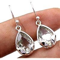 Orecchini pendenti in argento sterling con pietre preziose ametista per donne e ragazze, orecchini con castone per…