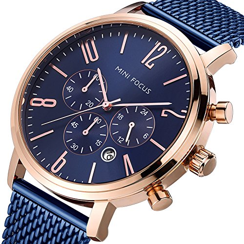 MINI FOCUS Herren Uhren Militär Wasserdicht Sport Analog Chronographen Datum Kalender Armbanduhr mit Schwarz Zifferblat Edelstahl Mesh Band(Blau)