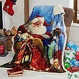 Tony's Textiles Santa Sleigh - Kuscheldecke mit Weihnachtsmann-Motiv - superweich - Fleece - 125 x 155 cm - Mehrfarbig