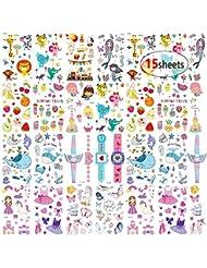 MMTX Tatouages Temporaires Enfant, 180pcs Tatouage ephémères Autocollants Licorne,Sirène,Papillon Parfait Pour Les Enfants Fête D'anniversaire Petit Cadeau Pinata(15 feuilles)