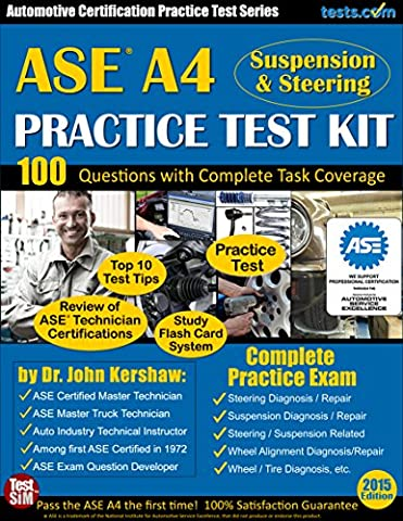ASE A4 Practice Test Kit (Suspension & Steering) - Automotive Certification Practice Test Series: Practice Exam, Flash Card Study System, Exam Review & Testing Tips