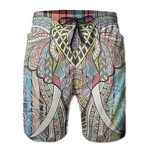 ZQHRS Beach Yoga Hosen, Bohemian Elephant Beach Lounge Shorts für Männer Jungen, Outdoor Short Pants Beach Zubehör Größe M -