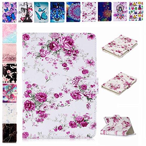 E-Mandala Universal 7 Zoll Hülle Etui Flip Case Leder Wallet Cover Tablet PC Tasche mit Kartenfach Klapphülle Ledertasche Lederhülle - Blumen