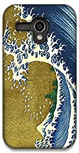 The Racoon Lean Colored Wave - Hokusai hard plastic printed back case / cover for Moto G (1st Gen)