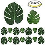 CSDSTORE 32 Stk. künstlich Blätter (16 stk 35*29 cm + 16 stk 20,5*17,5 cm) gefälschte Palmblatt Palme Monstera Kunstpflanze Floristik Basteln Deko für Hawaii Jungle Beach Theme Party Dekorationen