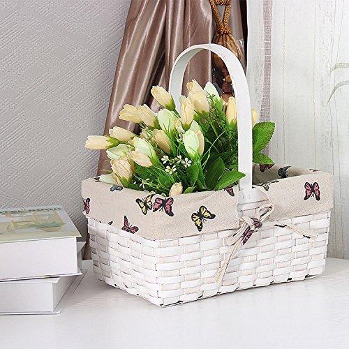 Weidenkorb mit Griff für Spielzeug Laundry Storage Wäschekorb Plant Flower Pot Desktop Korb Home Dekoration Schmetterling Muster Weiß Outdoor Geschirr & Picnicware
