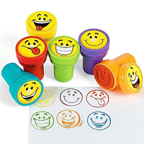German Trendseller® - 6 x Stempel Smiley´s┃ Kinder Stempelset ┃ Selbstfärbend ┃ Kinder lieben diese bunten Smiley Stempel
