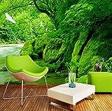 3D Fototapete Grüner Wald Natur Landschaft Wandmalerei Hd Wohnzimmer Sofa Hintergrundbild Wohnkultur Wandbild, 430X300 Cm (169,29X118,11 In)