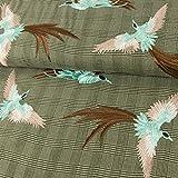 Stoffe Werning Glencheck Karo Vogel Stickerei Modestoffe -