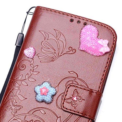 iPhone 7 Coque ( Gris ), Cuir Etui Rabat Style Portefeuille Case Avec Carte Slots pour Apple iPhone 7 4.7 inch Avec 3D Bling Cristal Strass Rose Love-Hearts Bowknot marron