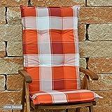 2 Hochlehner Auflagen 120x50x8 cm in orange weiß kariert SUN GARDEN Villach 10236-440 ohne Sessel