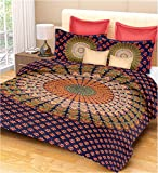 #2: PURE COMFORT 100% Cotton Double Bedsheet Floral in Multi Colour Printed Design- Blue