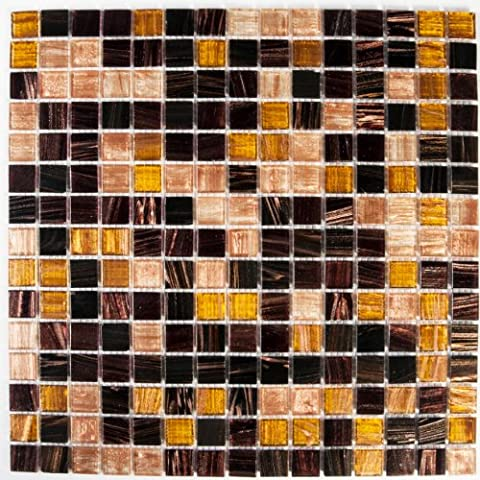 30cm x 30cm Golden Star Tigers Eye Glass Mosaic Tiles Sheet (MT0062)