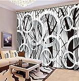 Wapel Moderne 3D-Filialen Kreis Fenster Vorhang Schwarz und Weiß 3D-Blackout Vorhang Für Wohnzimmer 3D-Vorhänge 260X320CM