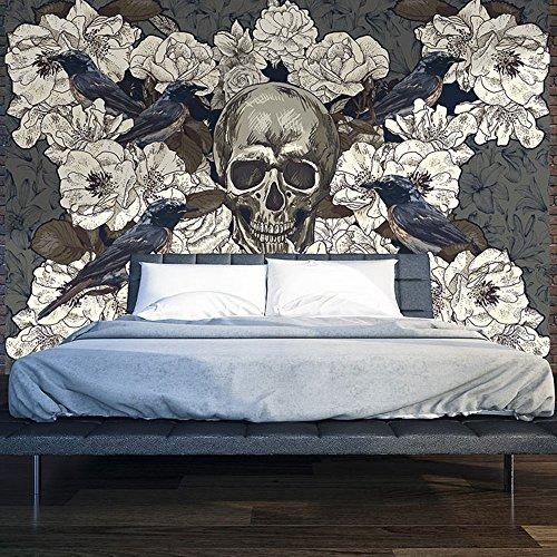 murando - Fototapete 250x175 cm - Vlies Tapete - Moderne Wanddeko - Design Tapete - Wandtapete - Wand Dekoration - Blumen Vogel Totenkopf b-A-0169-a-d