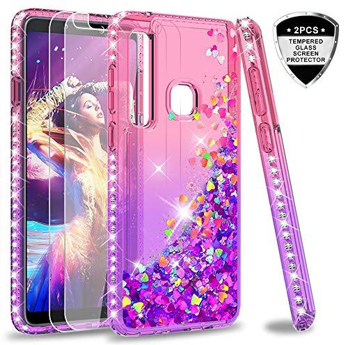 LeYi Hülle Galaxy A9 2018 Glitzer Handyhülle mit Panzerglas Schutzfolie(2 Stück),Cover Diamond Bumper Schutzhülle für Case Samsung A9 (2018) /A9 Star Pro/A9S Handy Hüllen ZX Gradient Pink Purple