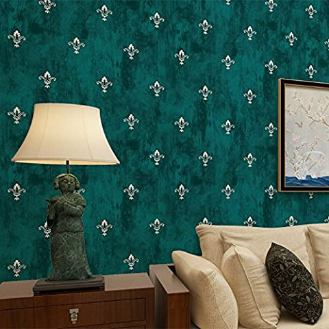 Retro green flower of old American non-woven wallpaper bedroom living