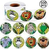 BETOY Animale Adesivi per Bambini, 500 Pezzi Zoo Animale Rotolo Adesivi Autoadesivo Etichetta a Forma Animale Decalcomanie da Muro per Bambini Favori di Festa, 8 Stili