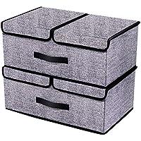 homyfort Set de 2 Cajas de Plegable de la Ropa Contenedores de Almacenamiento, Tapa Plegable y Desmontable de Doble Compartimentos, 50 x 30 x 20cm, 30L, Lino Tela sin Tejer, Negro Lino, XAB2L2
