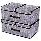 homyfort 2 Stück Aufbewahrungsbox mit Deckel, Klappbar Aufbewahrungsbox/Spielzeug Aufbewahrungsbox/Kleidung Veranstalter, entfernbares Teiler-Brett, Vliesstoff, 50 x 30 x 20 cm Schwarz Leinen, XAB2L2