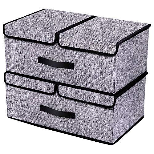 Homyfort set di 2 pieghevole dei vestiti contenitori di stoccaggio, coperchio pieghevole e rimovibile due comparti, (19.7 x 11.8 x 7.9 pollici), nero di lino non tessuto, xab2l2