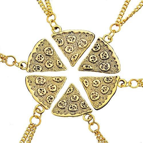 MJARTORIA Damen Halskette Gold Farbe Pizza Charms Anhänger Pullover Kette Choker Freundschaftsketten 6 Stück (Halskette)