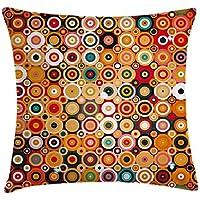 Juchenjixie - Funda de cojín de decoración para el hogar, diseño de círculos, redondeado, con líneas de vortex concentradas, arte nostálgico, funda de almohada decorativa cuadrada, 45,7 x 45,7 cm, color naranja
