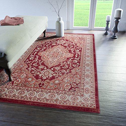 Tabriz Orientalische Teppiche (Traditioneller Klassischer Teppich für Ihre Wohnzimmer - Rot Creme Beige - Perser Orientalisches Heriz Keshan Muster - Blumen Ornamente - Top Qualität Pflegeleicht