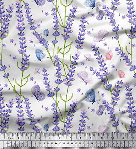 Soimoi Weiß Baumwolle Batist Stoff Schmetterling & Lavendel Blumen- Stoff drucken Meter 56 Zoll breit