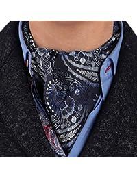 ERA7B02D Dark Blue Patterned Silk Ascot Tie Cravat Birthday Gift Idea Mens Excellent Ascot Tie Cravat By Epoint