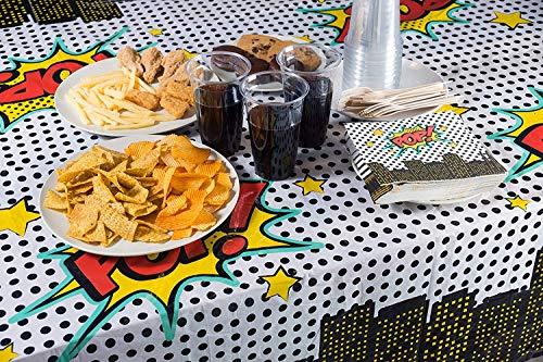 "61 zGnX45xL - MIANRUII 4 Pack Superhero Plastic Table Cover 43 ""x 71"" Superhero Tablecloths Party Supplies Decorations"