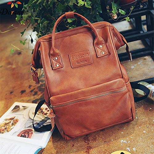 TnXan Casual Outdoor travel Backpack Vintage Large Backpack for Women PU Leather Fashion Laptop Bags Traveling Casual Backpack Schoolbag